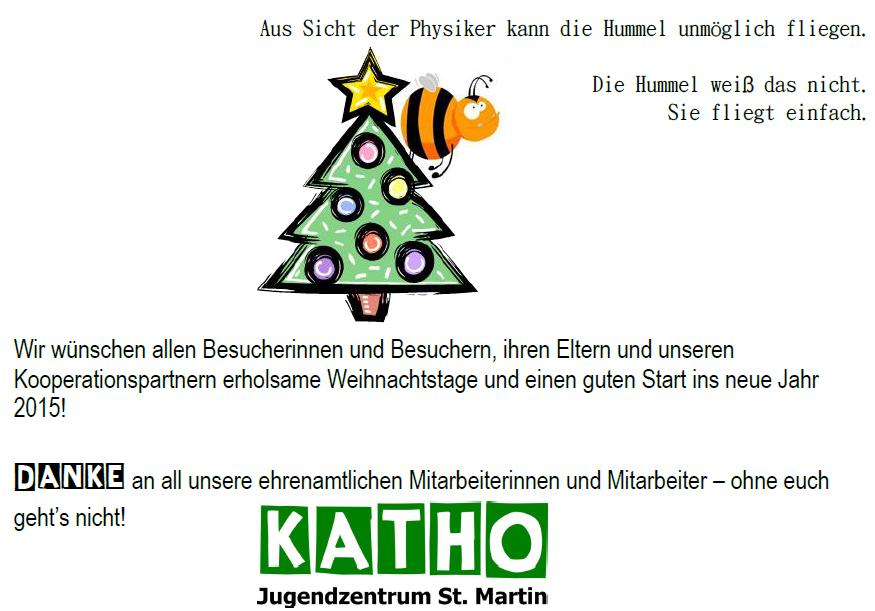 Weihnachtsgrüße An Eltern.Weihnachtsgrüße Aus Dem Jugendzentrum Katho St Martin Wegberg